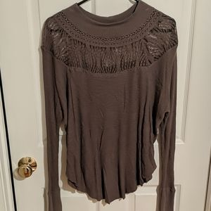 Free People mocha thermal with lace mock neck